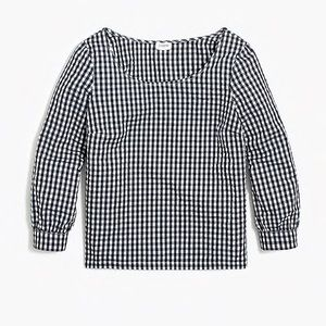 J. Crew gingham seersucker blouse